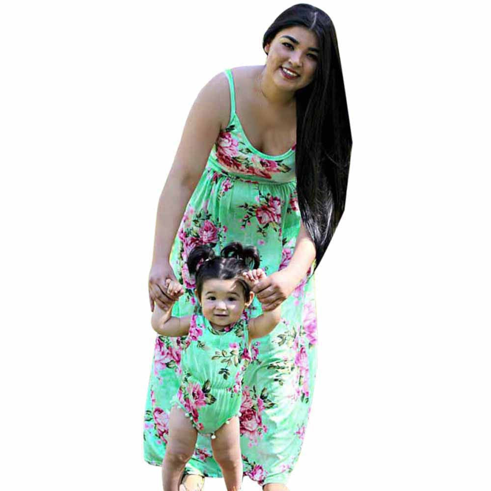 Mother daughter dresses Floral Dress Casual Family Clothes Girls Dress mother daughter summer printed dresses drop shipping