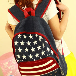 Xiniu woman backpack leather shoulder zipper Girls Flag Rivet backpacks for teenage girls School Bag Travel Backpacks #6M