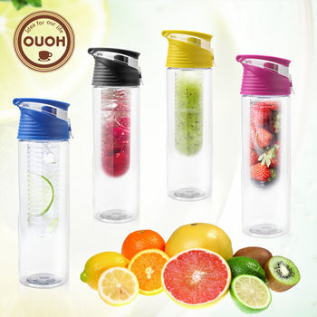 800ml Cycling Sport Fruit Infusing Infuser Water Lemon Bottle Juice Bicycle Health Eco-Friendly BPA Detox Bottle Flip Lid