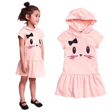 Girls Dress 2017 Fashion Hooded Cartoon Baby Girls Dress Active Cartoon Cats Pattern Children Clothing Summer Girls Dress