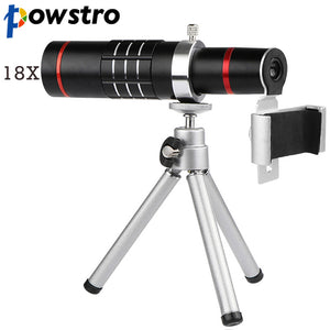 Powstro Universal 18X Zoom Telescope Phone Camera Lens with Tripod Clip For iPhone 7 8 X Samsung HTC Sony Mobile Phones Lens