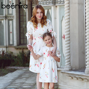 Beenira 2017 New Family Dresses Flower Pattern European And American Style Princess Dress Design For Mother + Baby Summer Dress