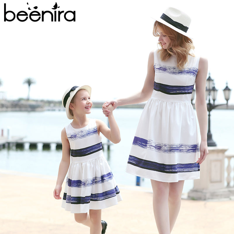 Beenira 2017 Striped Dress European and American Style Family Matching Outfits Mother Or Daughter Dress Sleeveless Party Dress