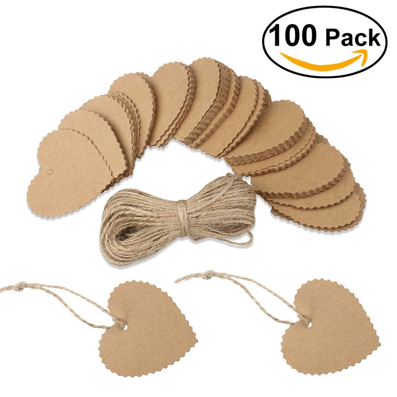 TINKSKY 100pcs Wedding Party Heart Shaped Scalloped Kraft Paper Tag with 10M Rope