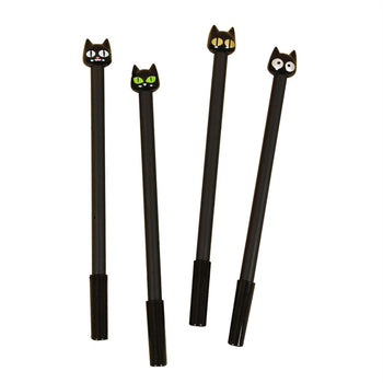 4pcs Black Cat Kawaii Gel Ink Rollerball Pens with 0.5mm Extra Fine Point Black Ink Pen Set Stationery for Students
