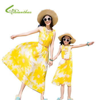 2018 Summer Style Sleeveless Mother&kids Dress Family Matching Outfit Girl Dress Printed Bohemia Girls Clothes Princess Dress