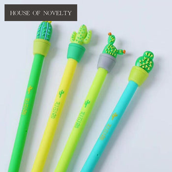 4 pcs/lot Green Cactus Plant Gel Pen Promotional Gift Stationery School & Office Supply