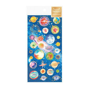 Japanese Style Planet Travel Cat Gilding Stickers Adhesive Stickers DIY Decoration Stickers