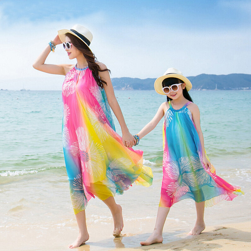 Family Look Rainbow Dress Matching Mother Daughter Dress Fashion Summer Vestido Sleeveless Beach Dress Family Clothing Wholesale
