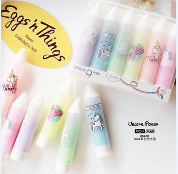 6 pcs/pack Unicorn Power Mini Colorful Candy Color Highlighters Promotional Markers Gift Stationery
