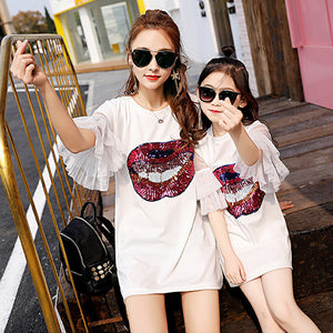 V-TREE Mother Daughter Dresses Sequins Dress For Family Matching Outfits Summer Mom And Daughter Clothing