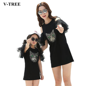 Mother Daughter Dresses Summer Family Matching Outfits Cartoon Mom And Daughte Clothes Girls Dresses