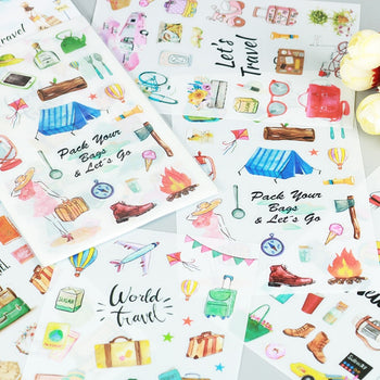 6 pcs/pack World Travel Cartoon Stickers Diary Sticker Scrapbook Decoration PVC Stationery Stickers