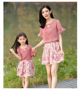Summer Family Matching Clothes Outfits Look Mother and Daughter Girl Dress Floral Printed Solid Pink  Elegant Cute Lovely Dress