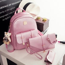 Bags Set Solid Metal Multi Pockets 4pcs mother bag Shoulder 1 Hand Bags Card Bags Backpack College wind backpack fashion travel