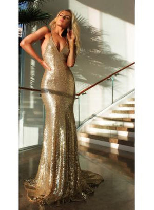 Backless Gold Sequin Dress