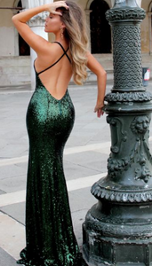ZIVA SEQUIN GOWN EMERALD