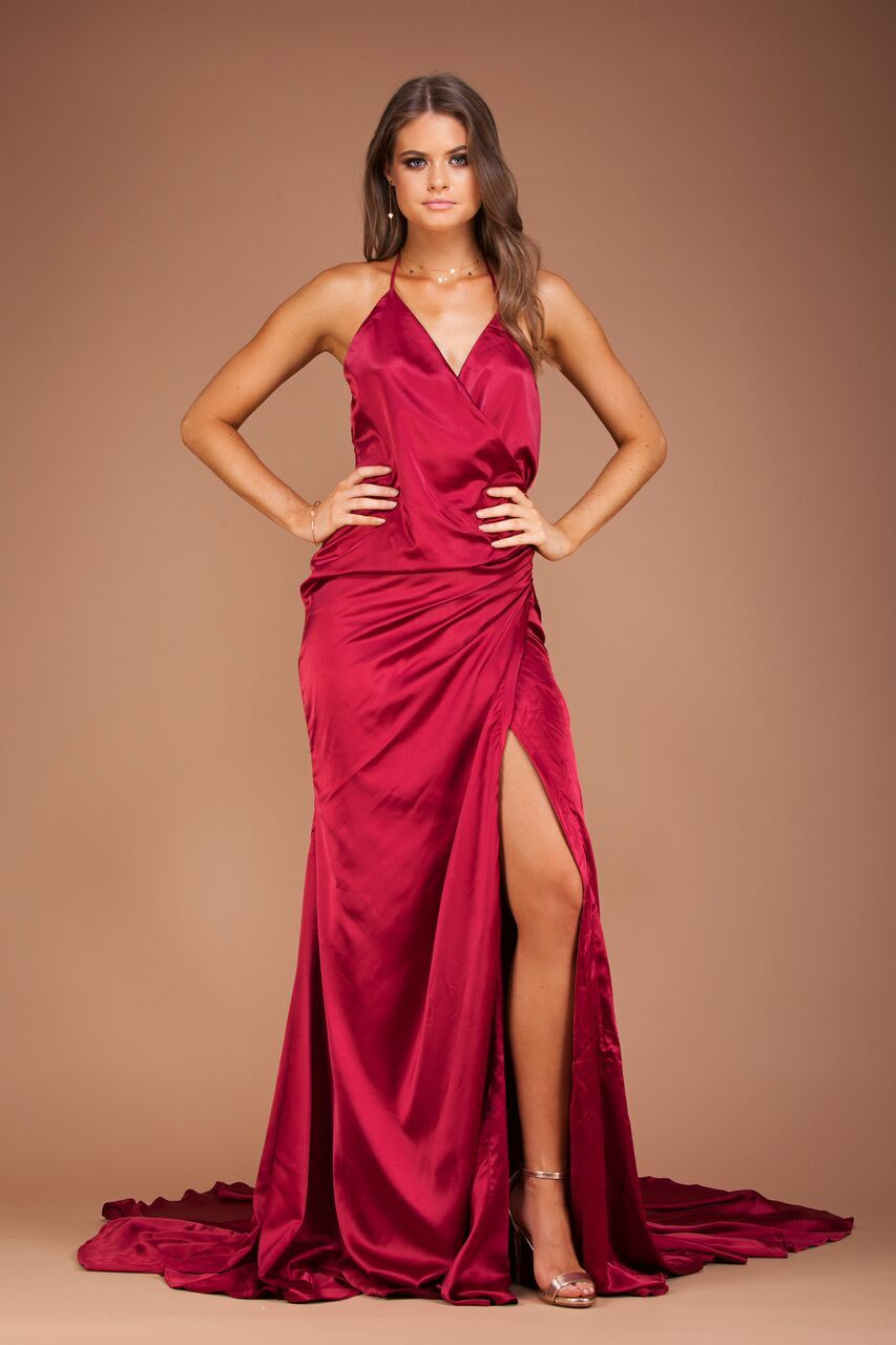 Gwen Satin Gown - Red