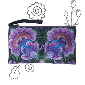 Twin Flower Clutch (Purple)