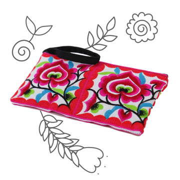 Small Floral Wristlet (Pink)