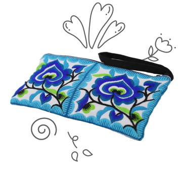 Small Floral Wristlet (Blue)