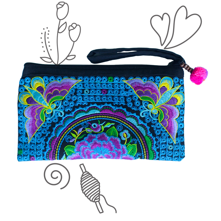 Atlas Moth Clutch (Violet & Electric Blue)