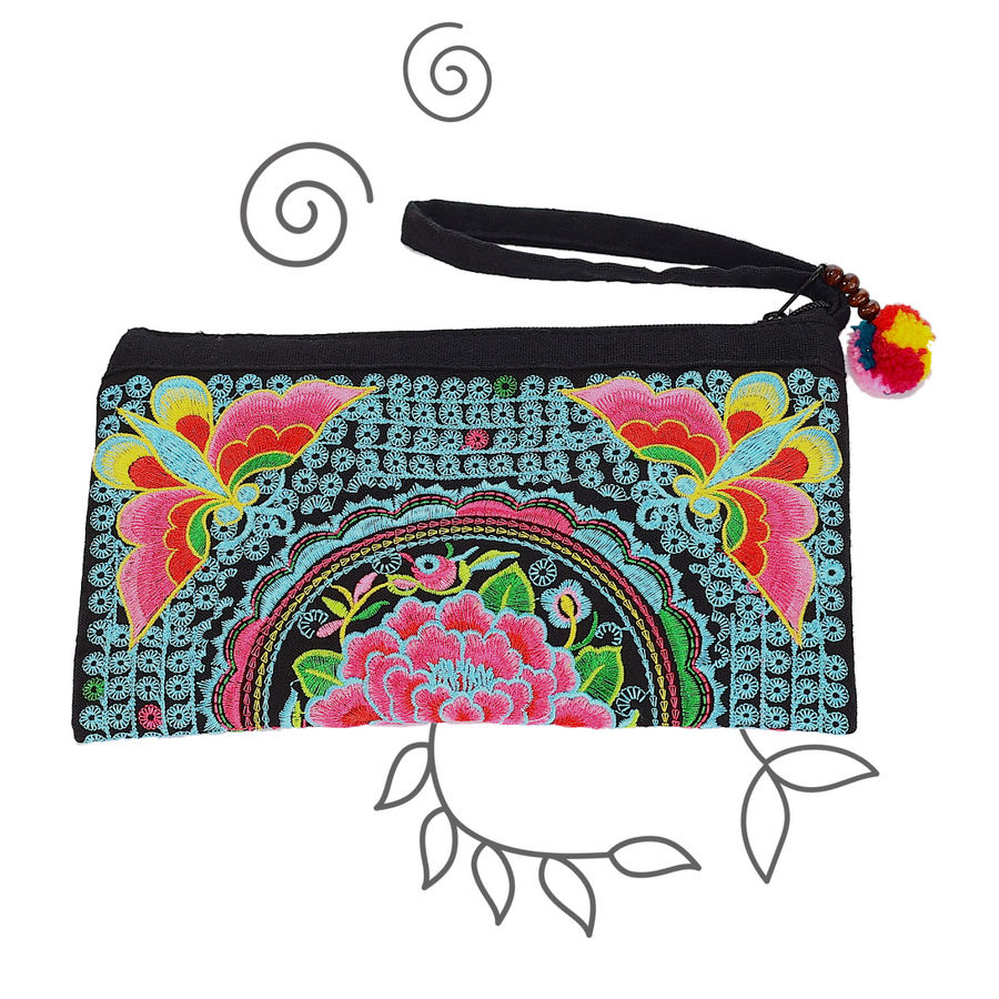Atlas Moth Clutch (Blue & Pink)