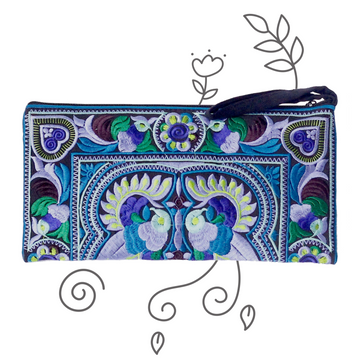 Medium Twin Bird Clutch (Blue)