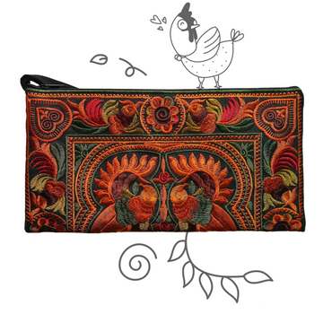 Medium Twin Bird Clutch (Gold/Ivy)