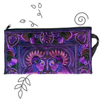 Medium Twin Bird Clutch (Purple)