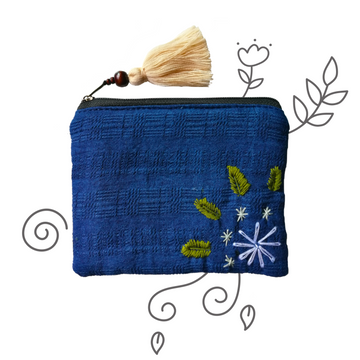 Indigo Organic Cotton Coin Pouch (White)