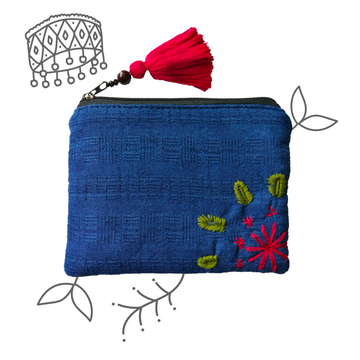 Indigo Organic Cotton Coin Pouch (Red)