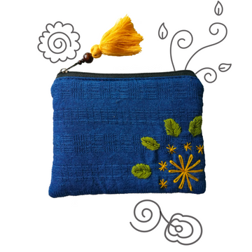 Indigo Organic Cotton Coin Pouch (Yellow)