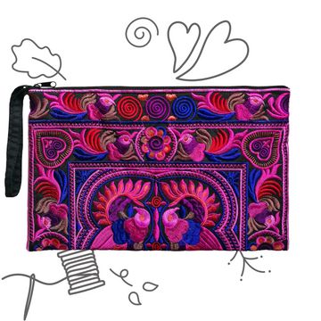 Large Twin Bird Clutch (Full Pink)