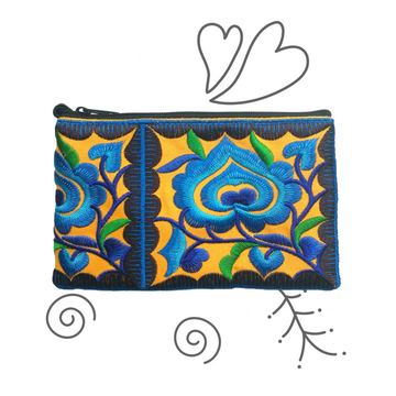 Mini Floral Wristlet (Blue/Orange)