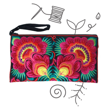 Twin Flower Clutch (Pink)