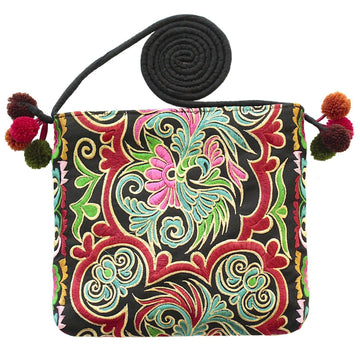 Sabai Jai Embroidered Ethnic Boho Shoulder & Crossbody Bag