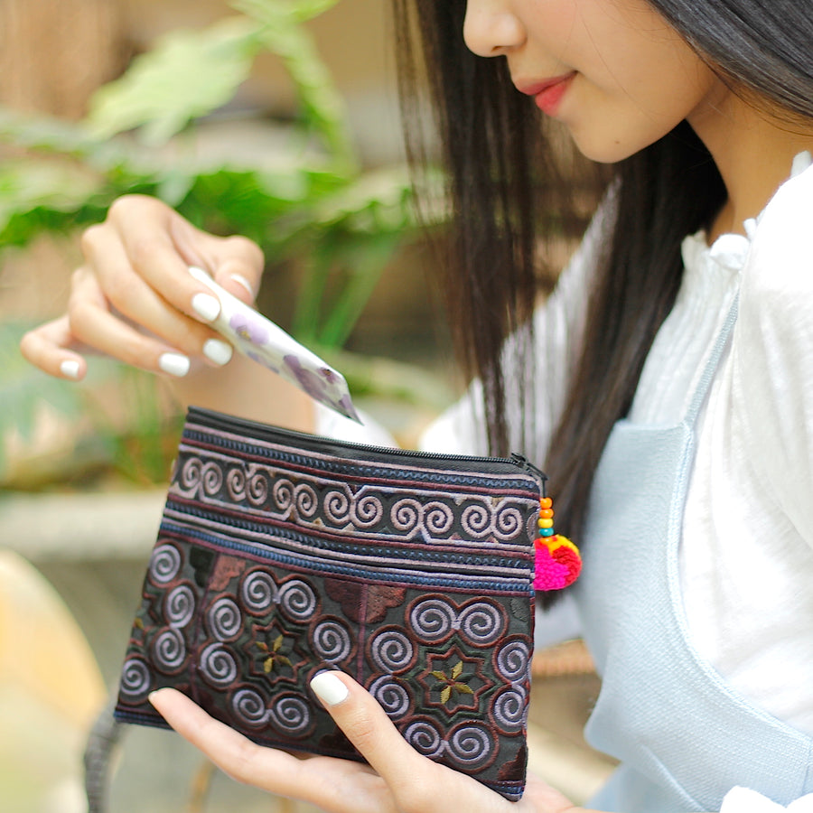 Sabai Jai Black Cosmetic Pouch with woman