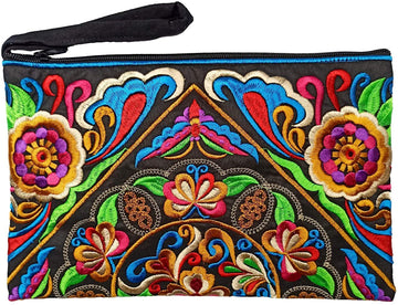 Large Floral Wave Clutch (Black/Multi)