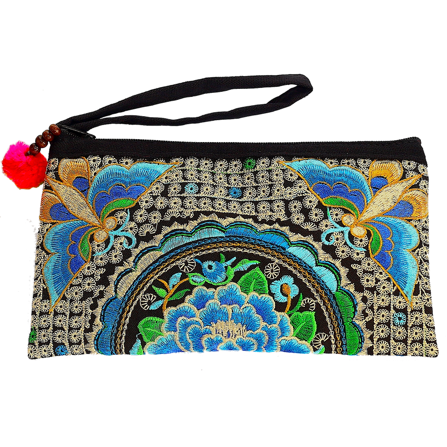 Sabai Jai Blue Atlas Moth Clutch bag