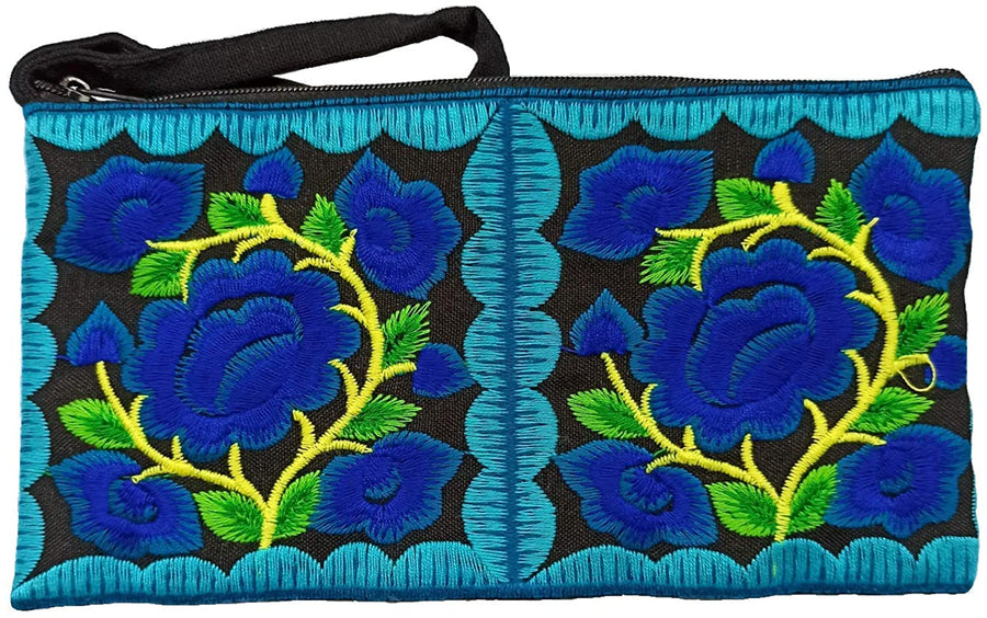 Small Floral Wristlet (Blue/Black)