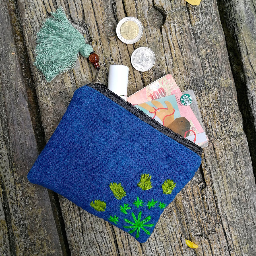 Indigo Organic Cotton Coin Pouch (Green)
