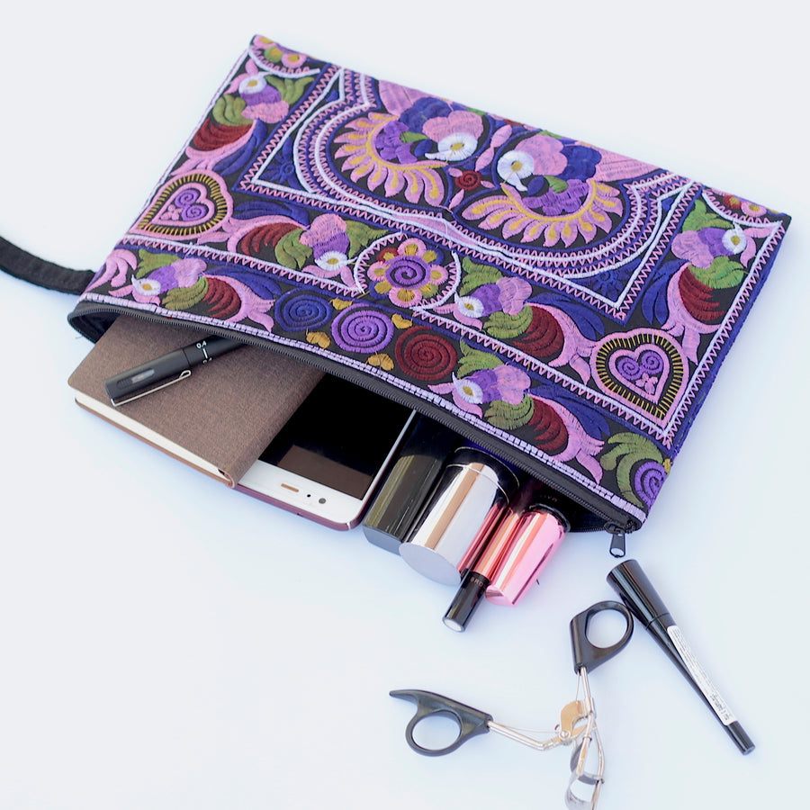 Sabai Jai Dark Violet Large Twin Bird Clutch with accessories