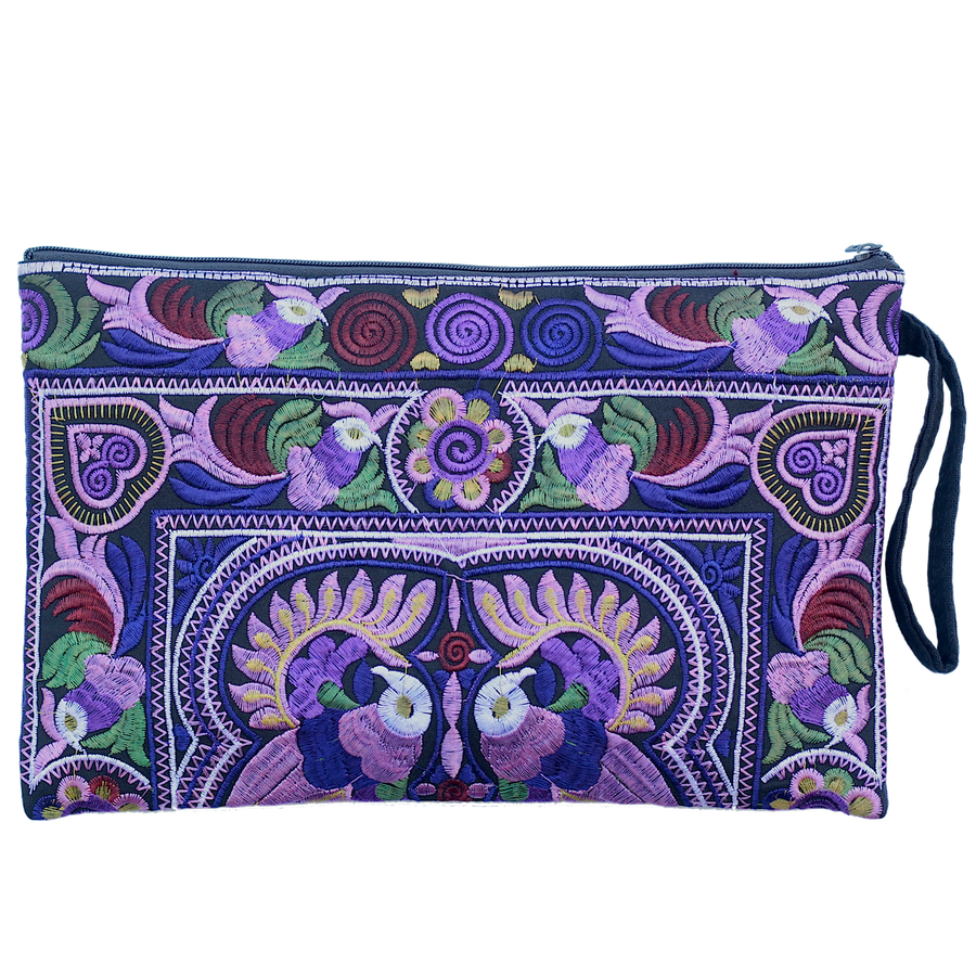 Sabai Jai Dark Violet Large Twin Bird Clutch bag
