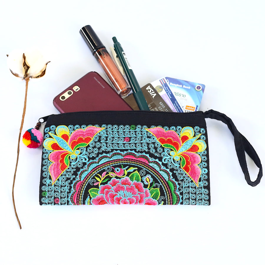 Sabai Jai Blue & Pink Atlas Moth Clutch with accessories