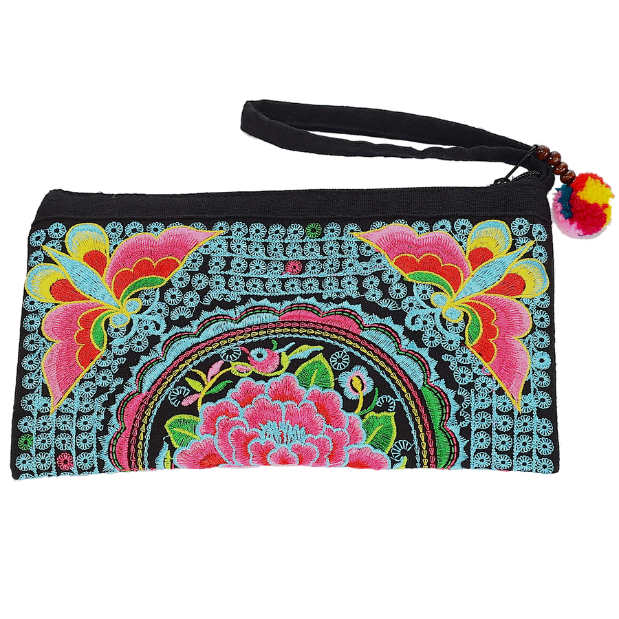 Sabai Jai Blue & Pink Atlas Moth Clutch bag