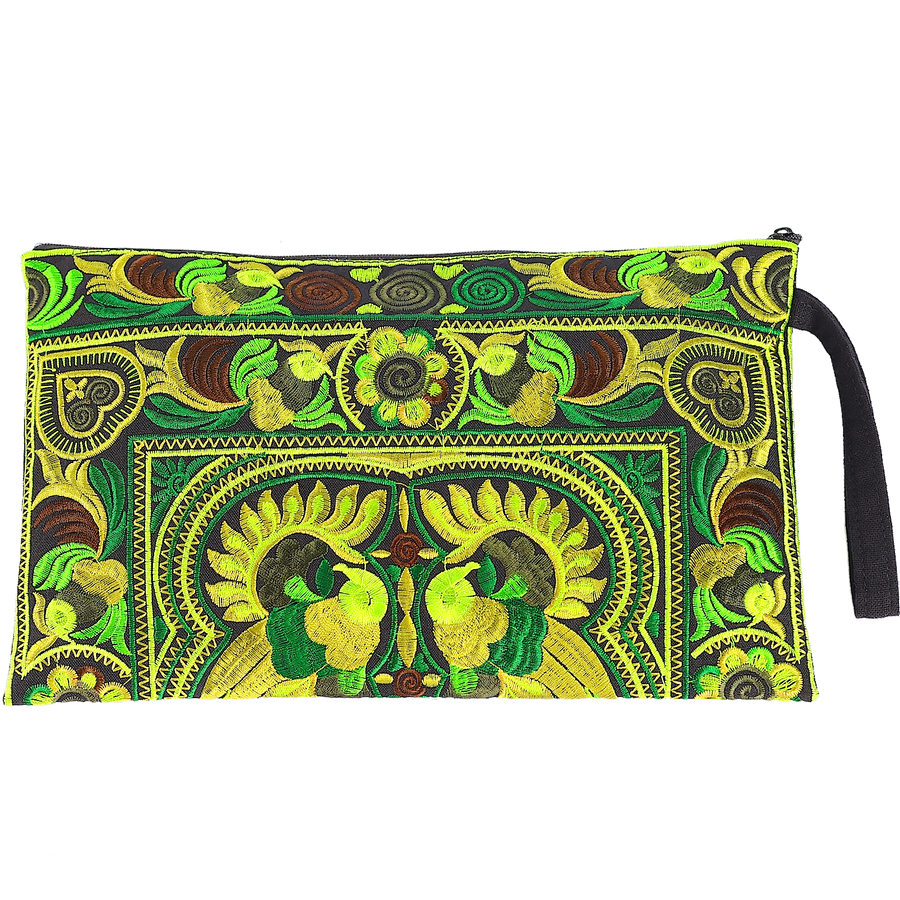 Sabai Jai Green Large Twin Bird Clutch bag