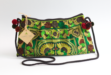 Sabai Jai Green Twin Bird Shoulder Bag