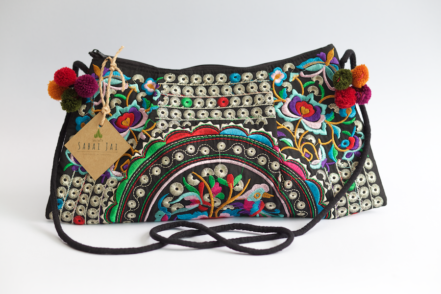 Sabai Jai Silver & Multicolor Rose Shoulder Bag