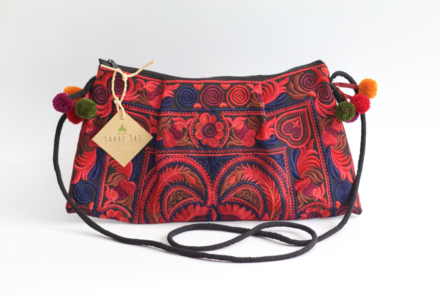 Sabai Jai Red Twin Bird Shoulder Bag